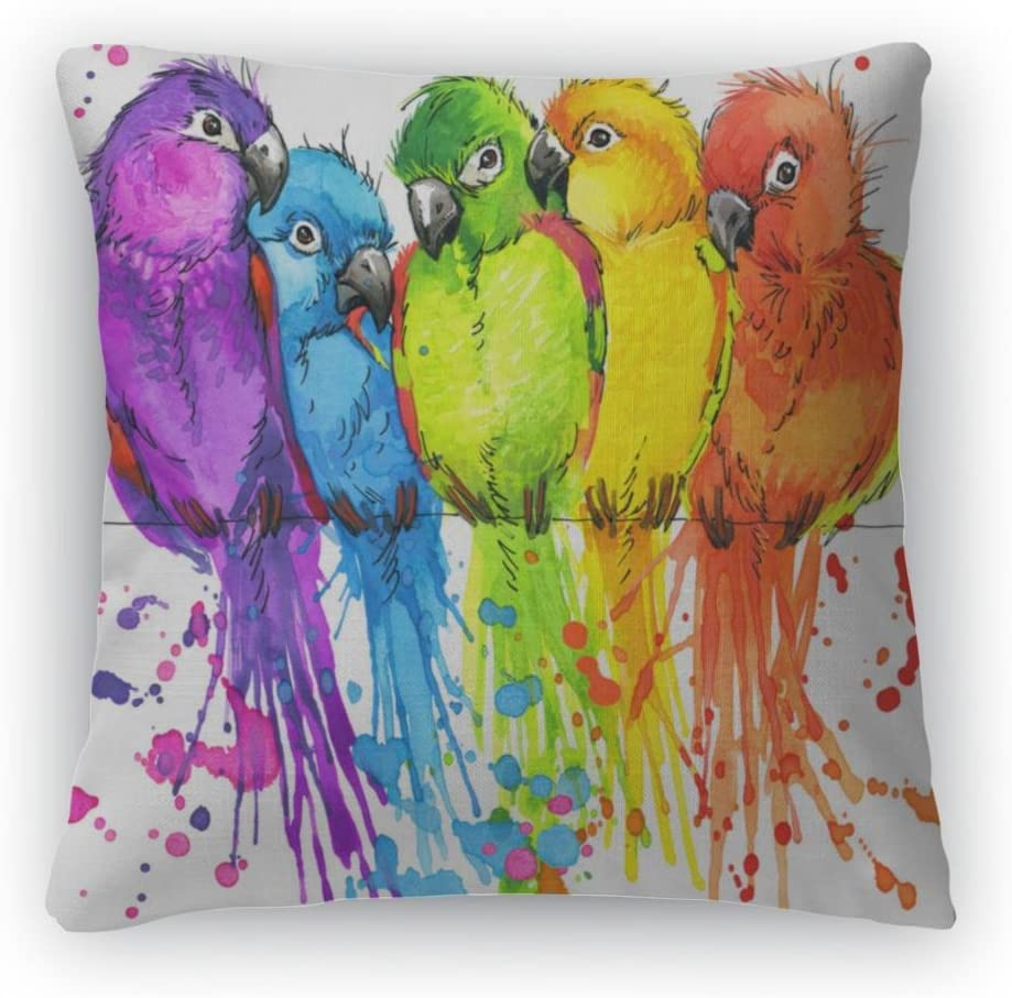 Gear New Throw Pillow, 26×26, Tshirt Graphics Colorful Parrots Illustration Watercolor