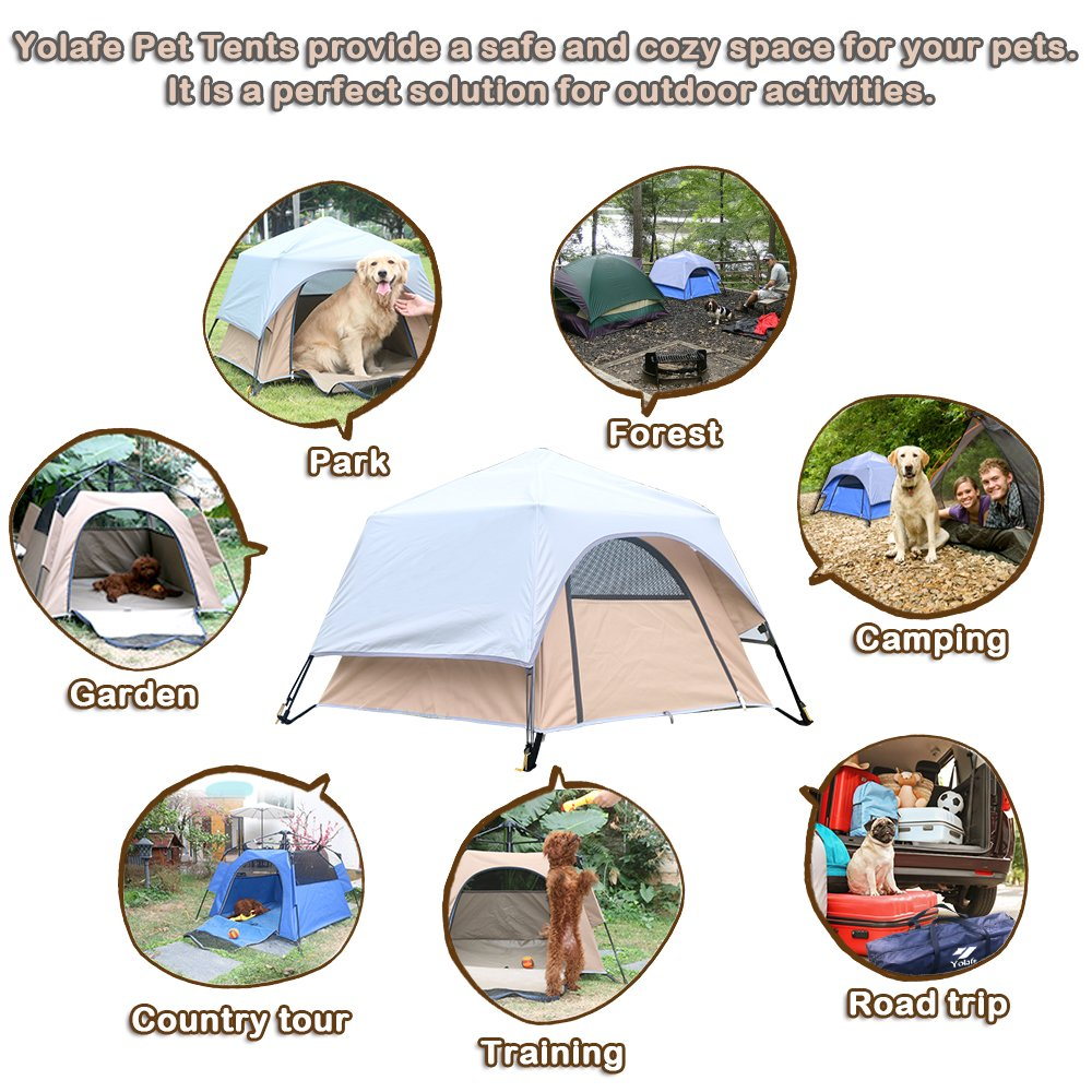 Yolafe Portable Pet Tent, Outdoor Pet Kennel with Innovative Instant Setup Centre Hub Design, Ideal for Camping with Cats and Dogs, Included Black Carry Bag and 2 (Brown) by Yolafe (Image #5)