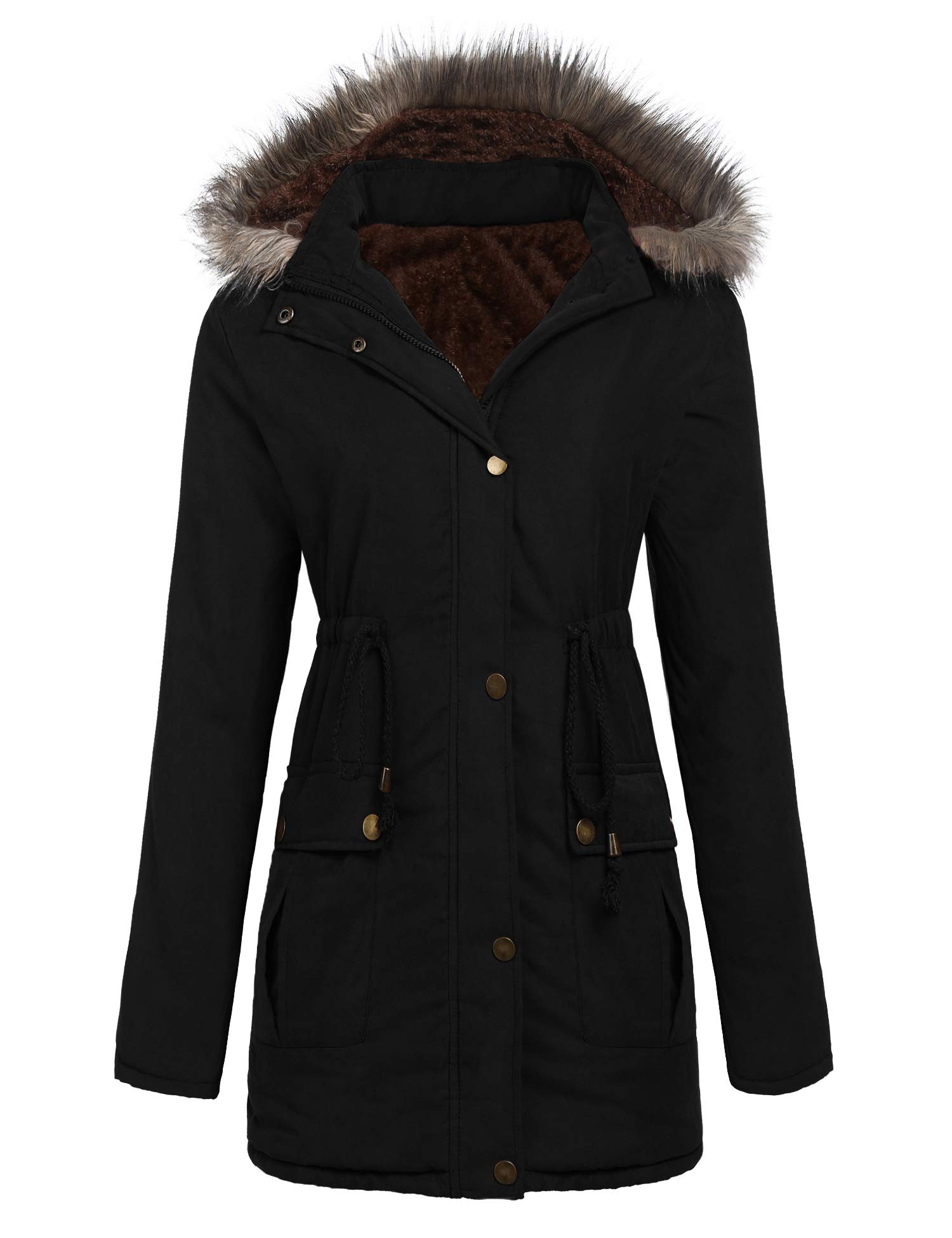 SoTeer Womens Plus Size Winter Coat Warm Faux Fur Lined Parka Jacket with Hood (Black, L) by SoTeer