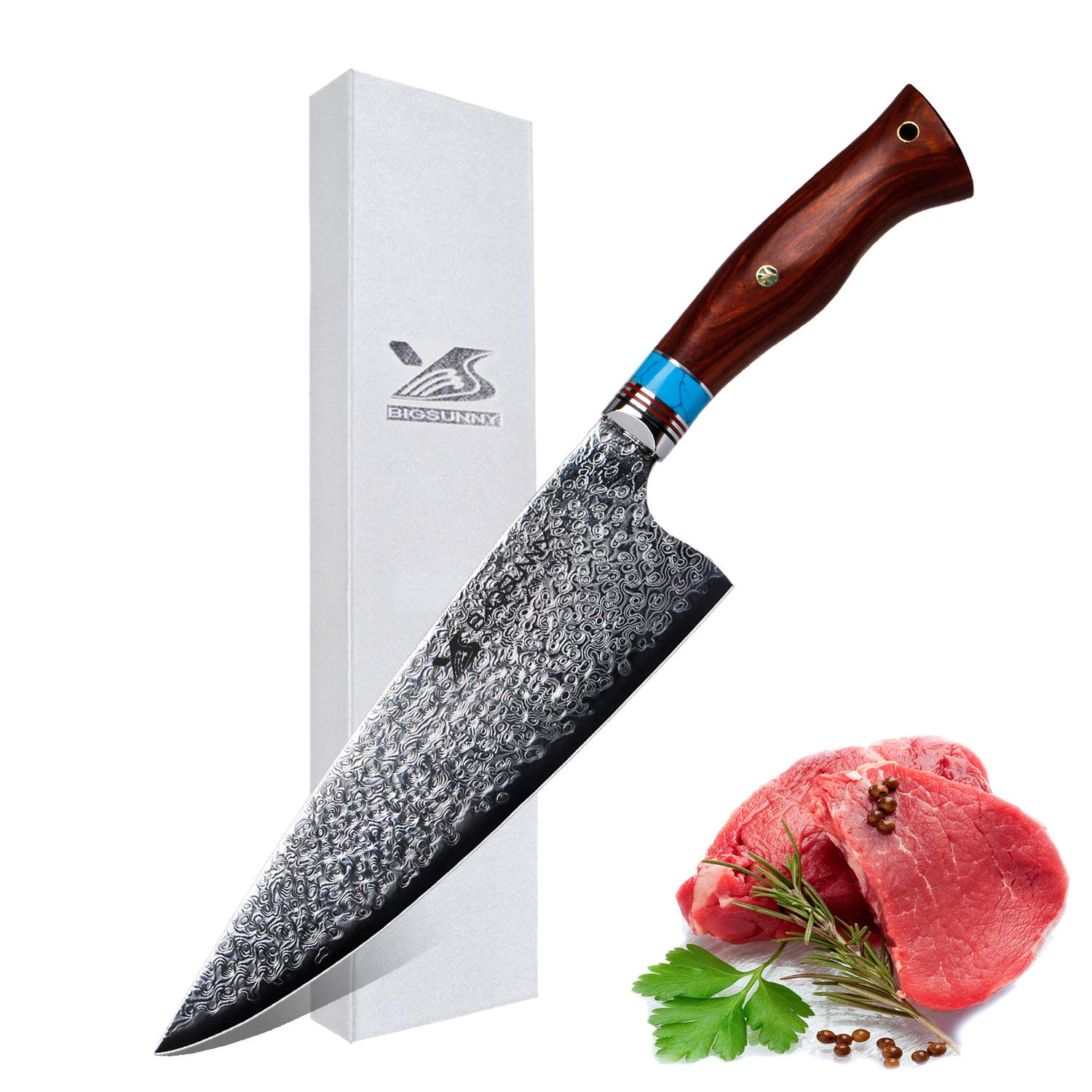 MSY BIGSUNNY Chef Knife - Best Quality Super Steel 67 Layers Damascus Steel - 8.4'' (213 mm) - Stain & Corrosion Resistant Chefs Knives by MSY BIGSUNNY