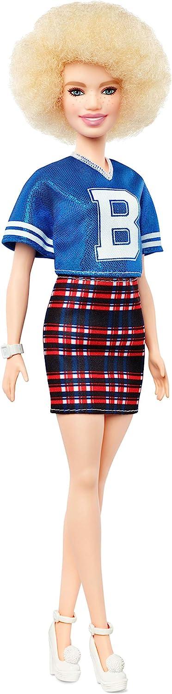 Barbie Fashionista, muñeca 32cm con cabello rubio rizado, jersey y falda a cuadros (Mattel FJF51)