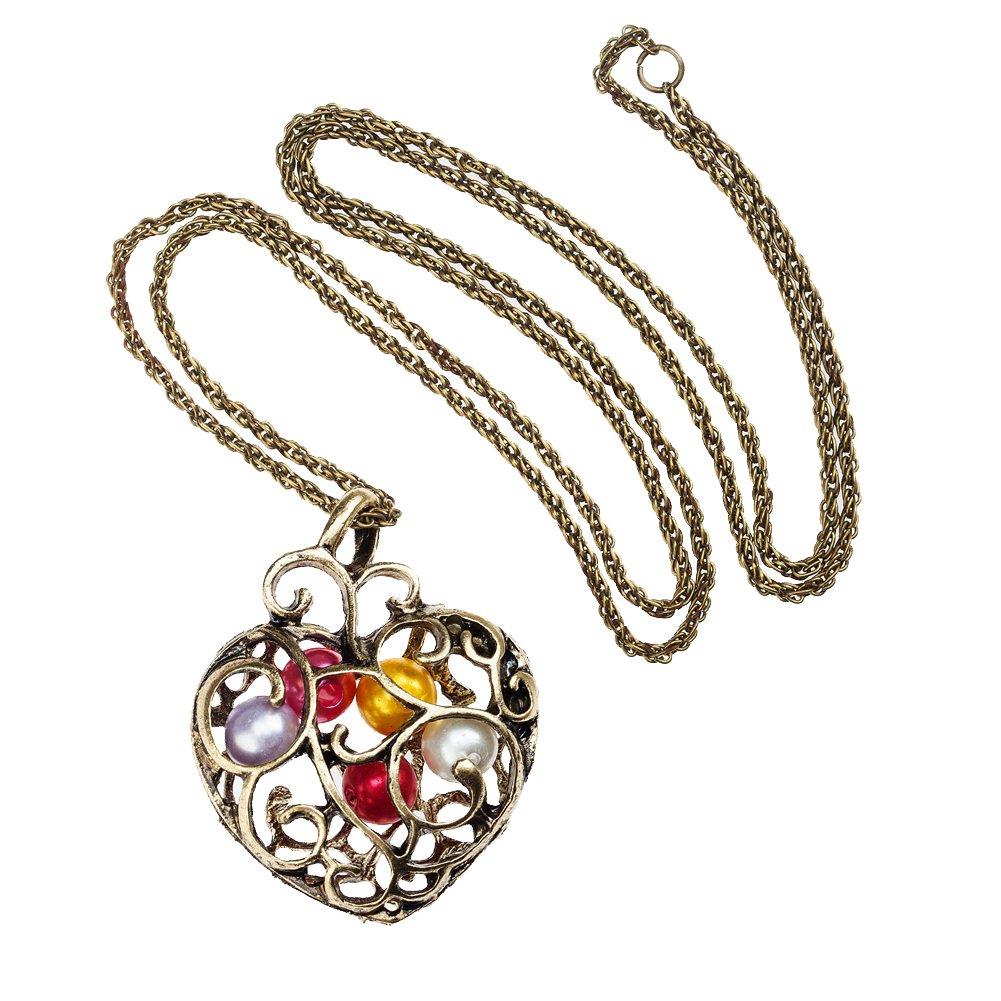 Vintage Gold Plated Hollow Heart Pendant With 4 Colorful Pearls Necklace On Long Bronze Chain By VAGA©