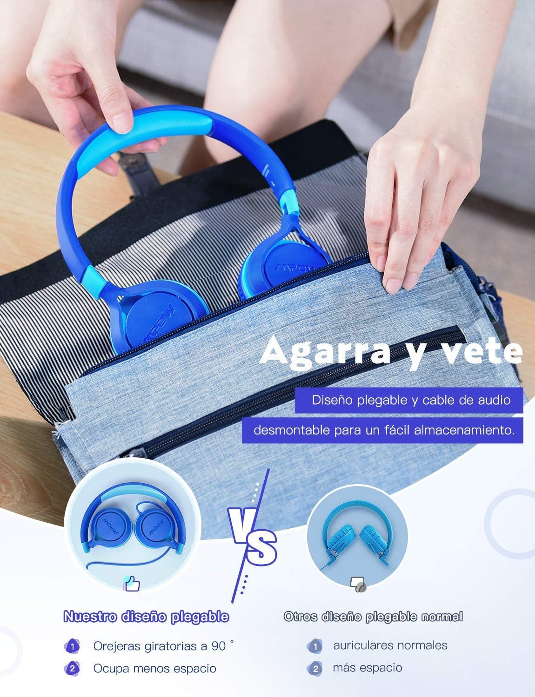 Mpow CHE1 Auriculares para niños, Volumen Limitado en el oído Auriculares para niños con Conector de Audio de 3.5 mm para niñas y niños, Auriculares con Cable Ajustable y Plegable: Amazon.es: Electrónica