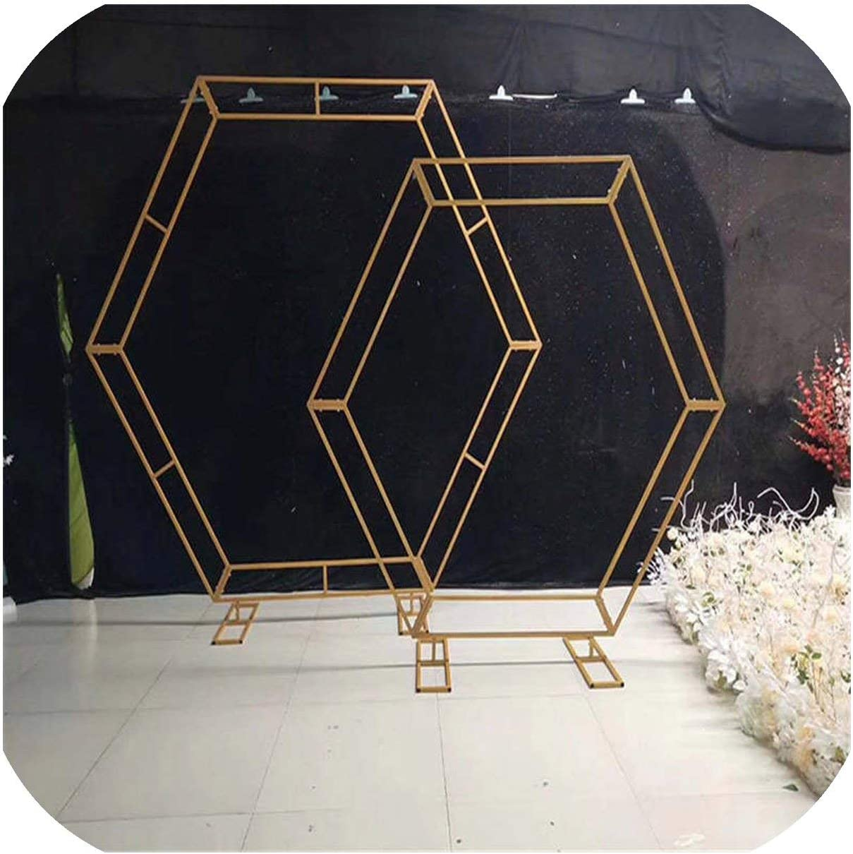 Wrought Iron Arch Wedding Background Birthday Party Decoration Rhombic Iron Arch Frame Stage Decoration Wedding Props,210cm,Gold