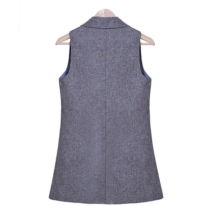 Caseminsto 2017 Covers Feminino Turn-Down Collar Coats Slim Shirt Office WomenS Sleeveless Elegant Jacket