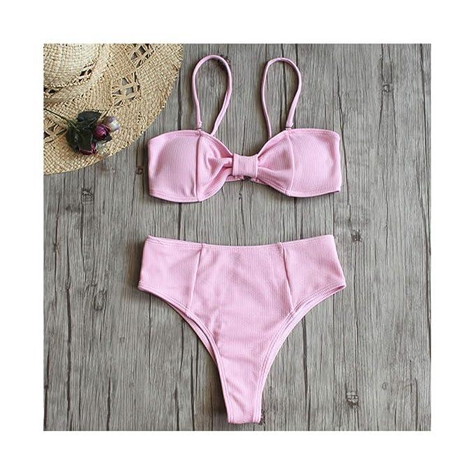 cb18a4cd3b Amazon.com: Bikini Set Knotted Padded Thong Swimsuit Women Pure Color High  Cut Bathing Suit Biquni Swimwear Scoop Neck Solid: Clothing