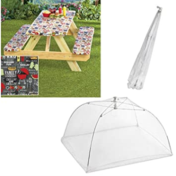 Picnic Table Cover And 2 Bench Covers With 2 Large Popup Mesh Screen