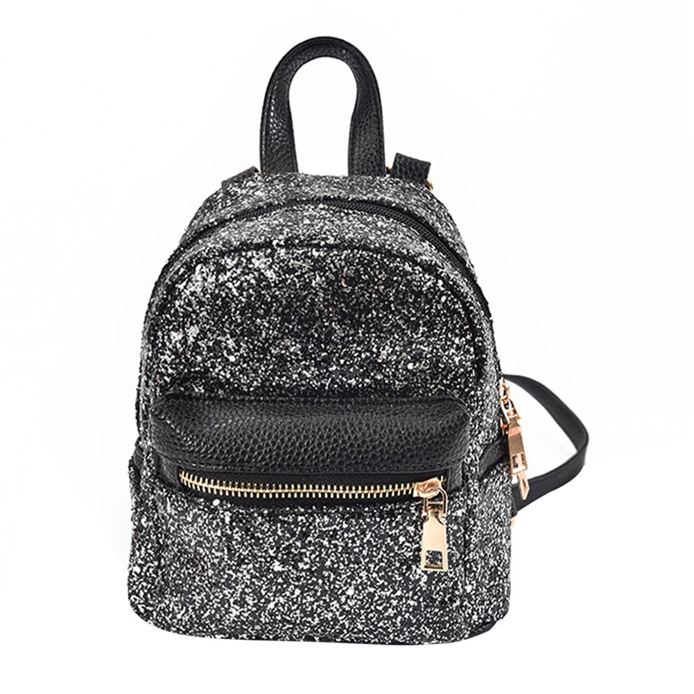 Rrimin Fashion Women PU Leather Bling Backpack Mini Small Bag Sequins  Schoolbags (Black)  Amazon.in  Bags cbc56ae3f4911