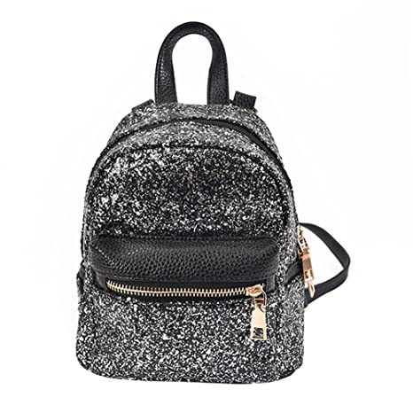 a9b2e5f9f981 Rrimin Fashion Women PU Leather Bling Backpack Mini Small Bag Sequins  Schoolbags (Black)