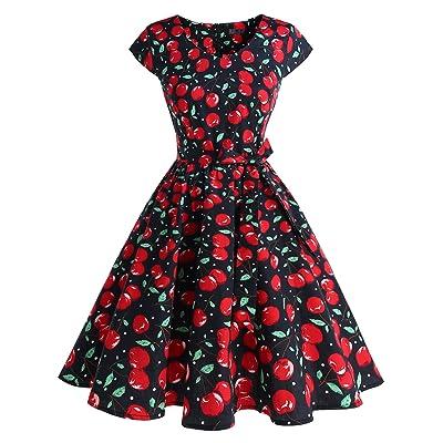 IVNIS Femme Rockabilly Robe année 1950 avec Poches Robe Rétro Vintage Grande Taille Robe d'Audrey à Col Rond l'Impression Floral Manche Courte Robe de Soirée Cocktail pour Mariage Coton Doux