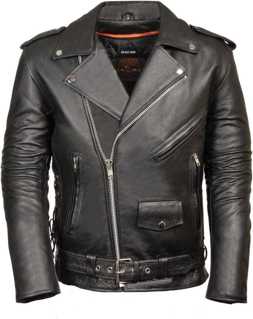 MILWAUKEE LEATHER Men's Classic Side Lace Police Style Motorcycle Jacket (Black, X-Small) 71QI4TT7pdL