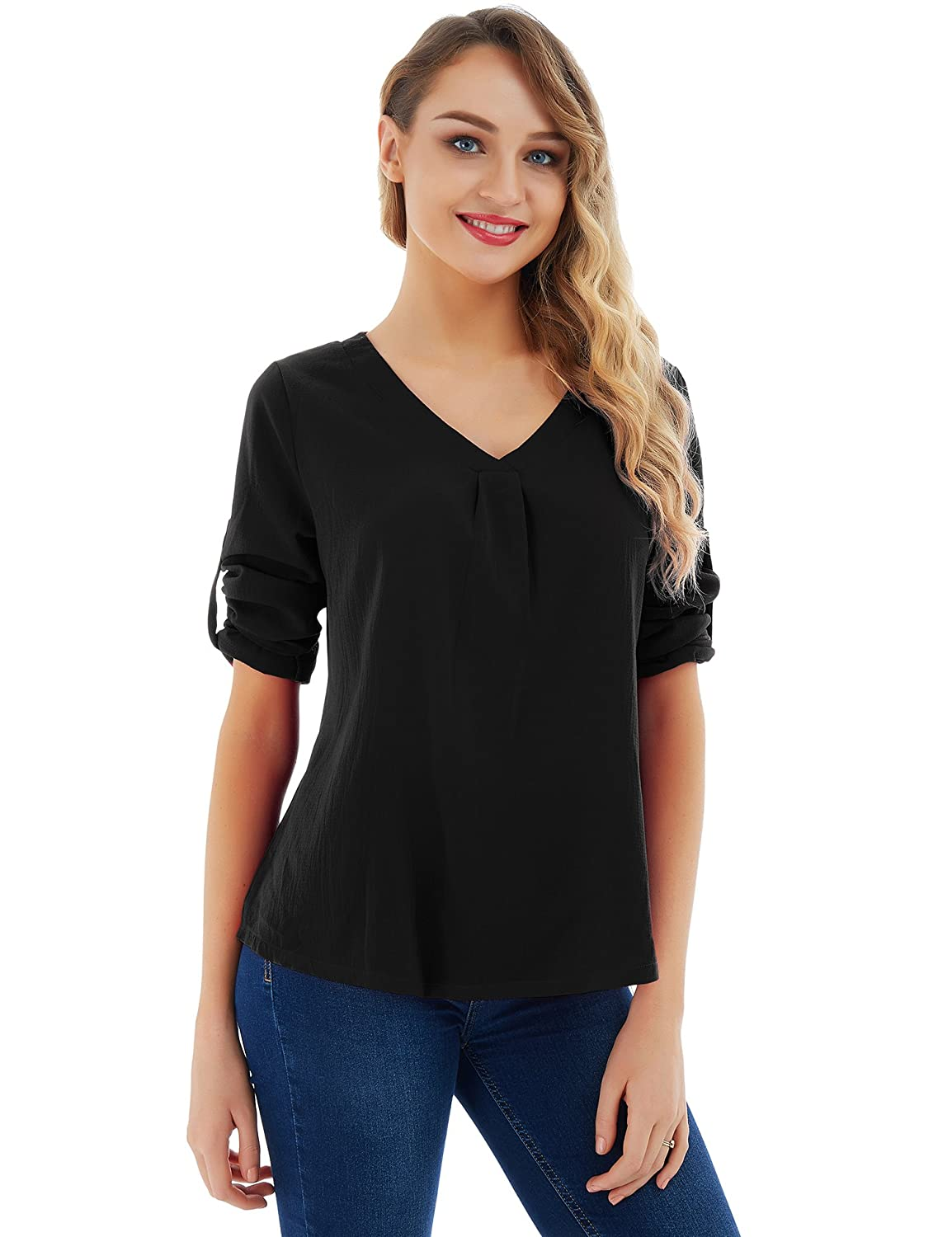 665c0bc50aa The material is soft and lightweight, very comfortable to fit in. Stylish  Design: Loose Sleeve and hem, V Neck, Floral Printed and Solid Color Blouse  Shirt ...