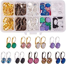 Golden Dangle Setting Earrings Hooks 2m Cross Chains SUNNYCLUE 1 Box DIY 14 Set Jewelry Druzy Earrings Necklace Making Kit for Adults Girls Women Arts Craft Kit 24pcs Round Druzy Cabochons 12mm