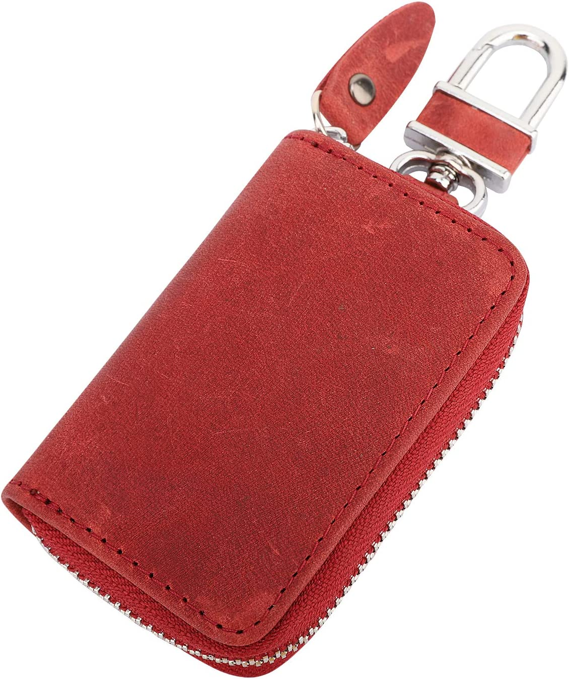 MoKo Car Key Case Wine Red Support Remote Control Retro Wax Leather Car Smart Keychain Coin Fob Punch Holder Wear-resistant Key Zipper Bag with Metal Hook