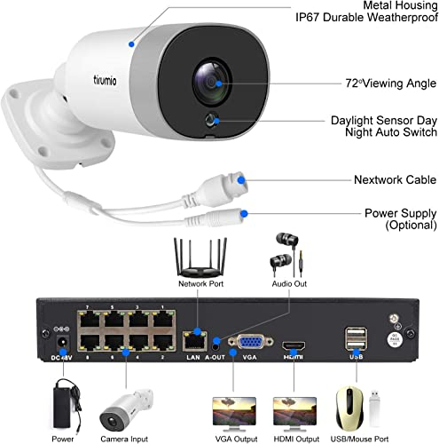 PoE Security Camera System,TIRUMIO 8CH 5MP 2.5x1080P Wired Home Surveillance PoE NVR System with 6pcs 5MP Super HD Outdoor Cameras,IP67 Weatherproof,100ft Night Vision,Motion Detect,No Hard Drive