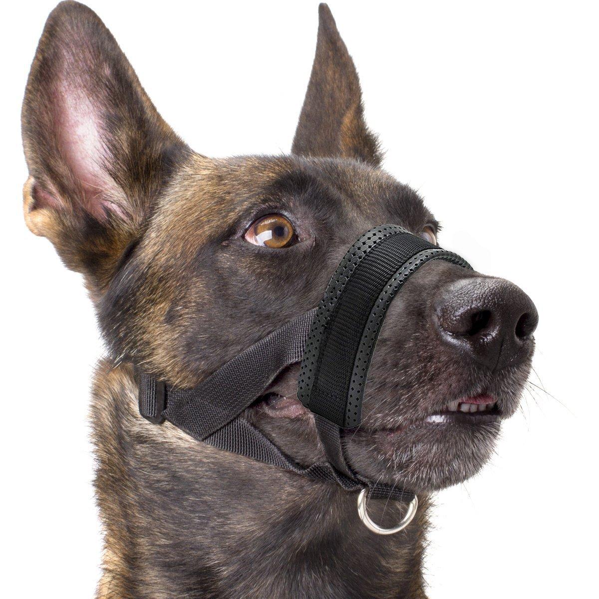 Dog Muzzle Nylon with Soft Padding, Adjustable Loop, Black (L)