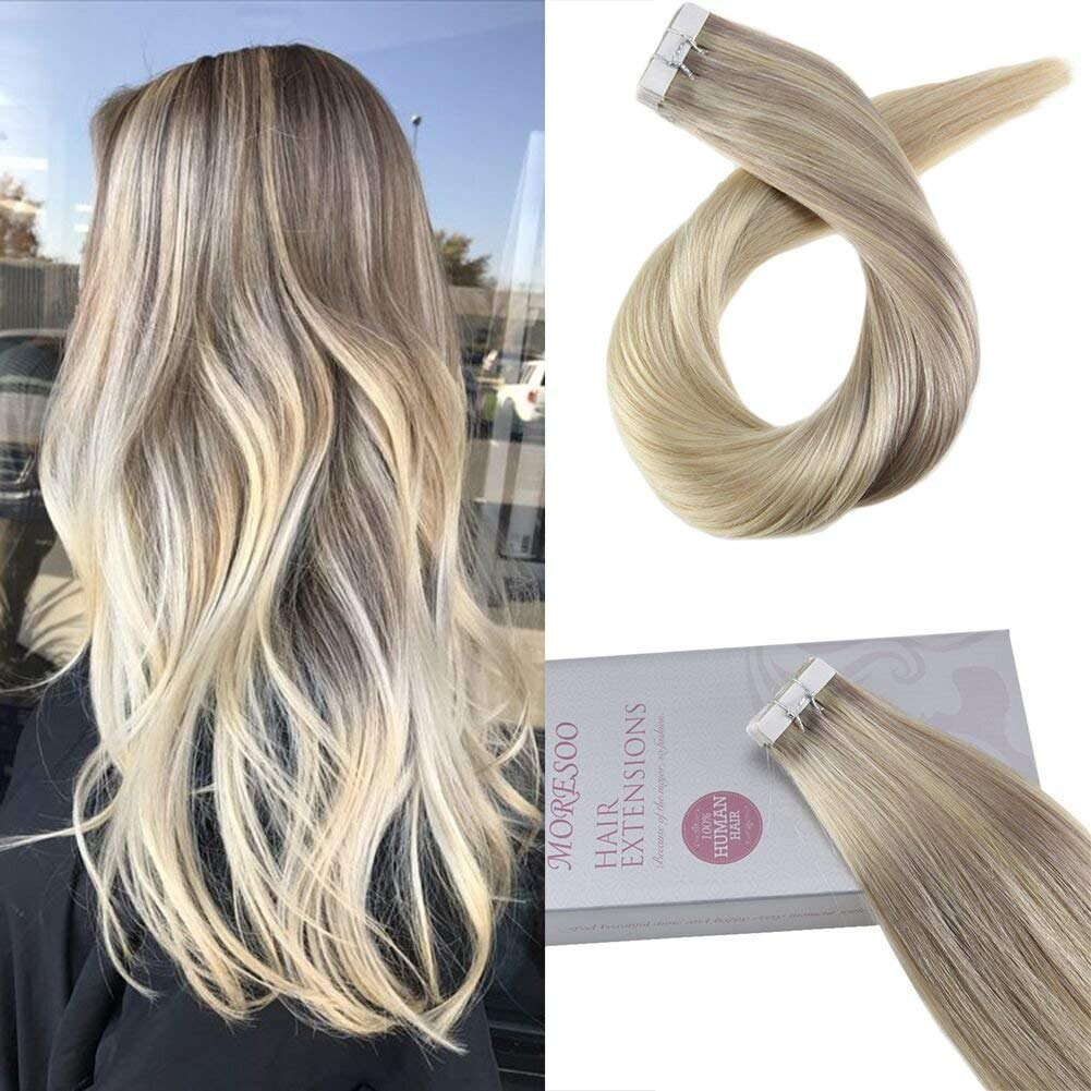 Moresoo Tape on Hair Extensions 18 Inch 40pcs/100g Color Balayage #18 Dark Ash Blonde Fading to #22 Highlight with #60 Platinum Blonde Tape in Hair Extensions Remy Human Hair Glue in Hair Extensions by Moresoo