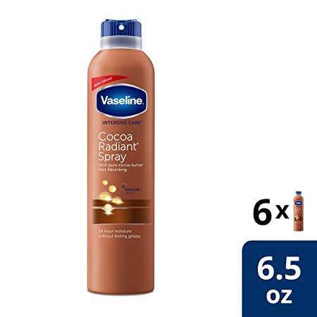 Vaseline Hand Body Lotion Spray Cocoa Radiant 6.5 oz, 6 pack