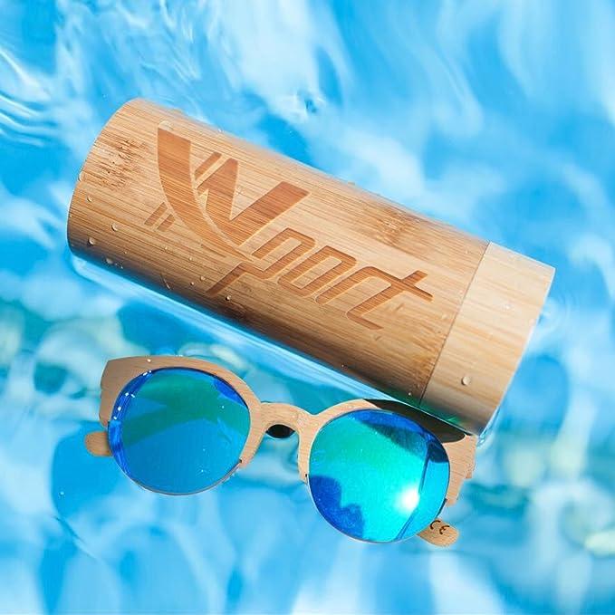 d2382c6dc5 Ynport Crefreak Mens Womens Kat-eye Bamboo Sunglasses