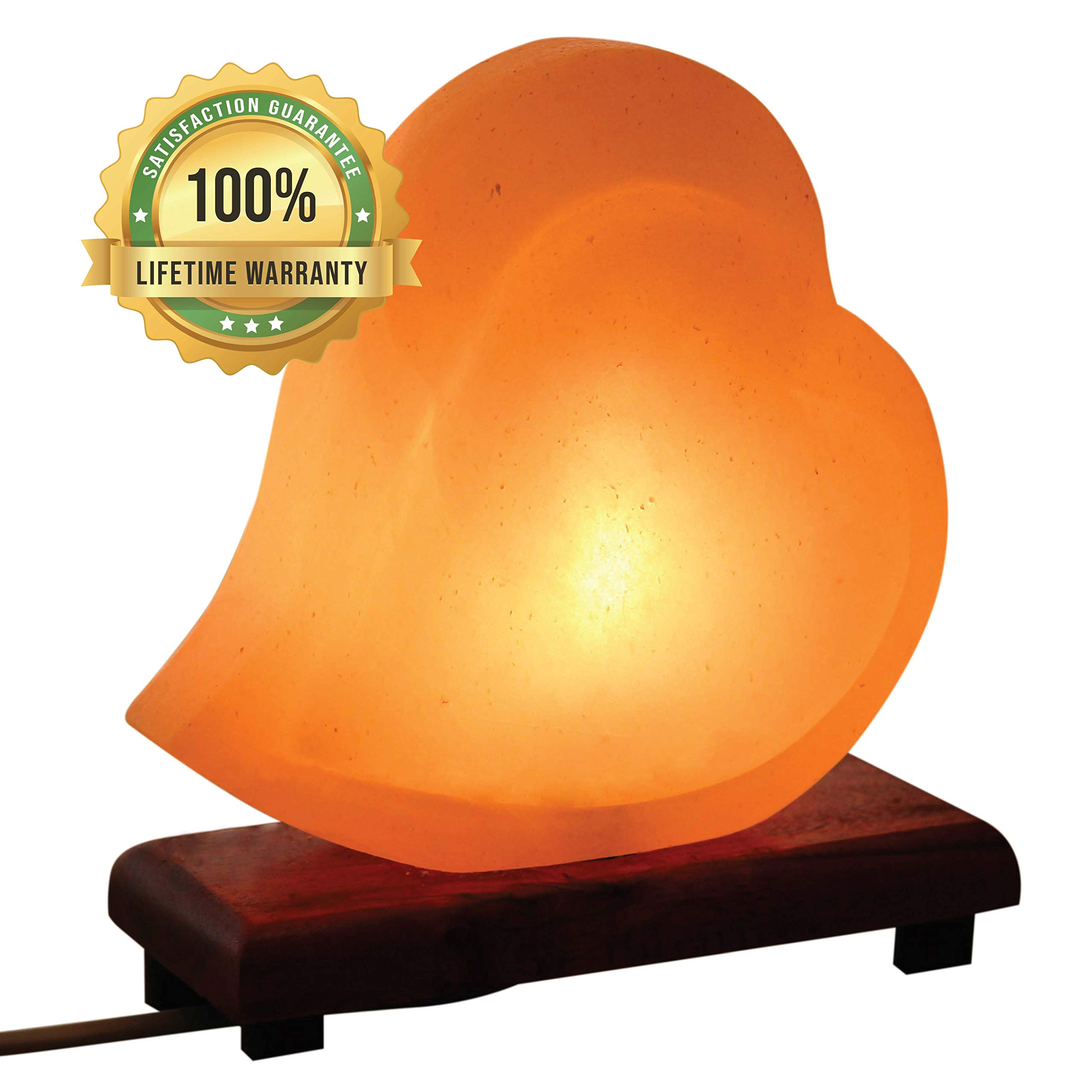 Mockins Hand Crafted Salt Lamp Heart Shape with Beautiful Wood Base -Includes Dimmer and Light Bulbs | Great Adult Night Lights and Decor by Mockins