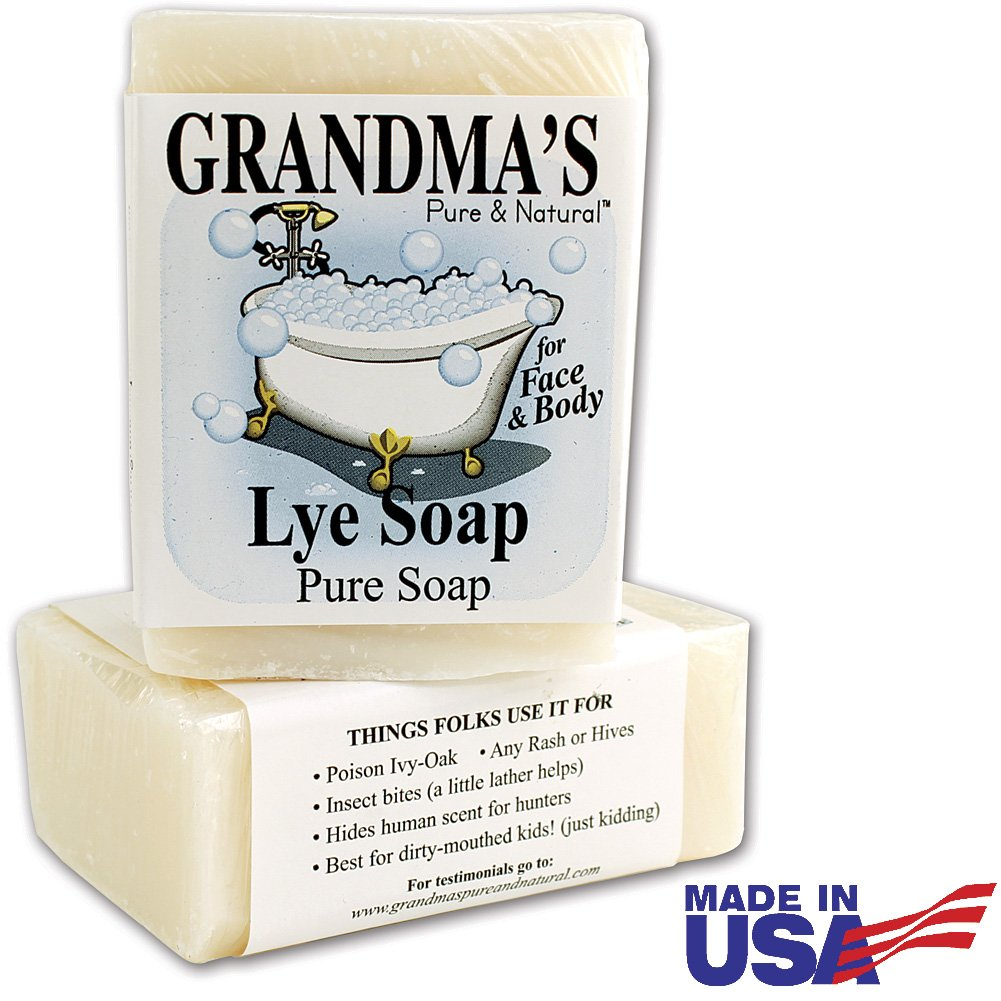 Grandmas Lye Soap | Pure Natural Soap Bar for Dry Itchy Skin (2 Pack)