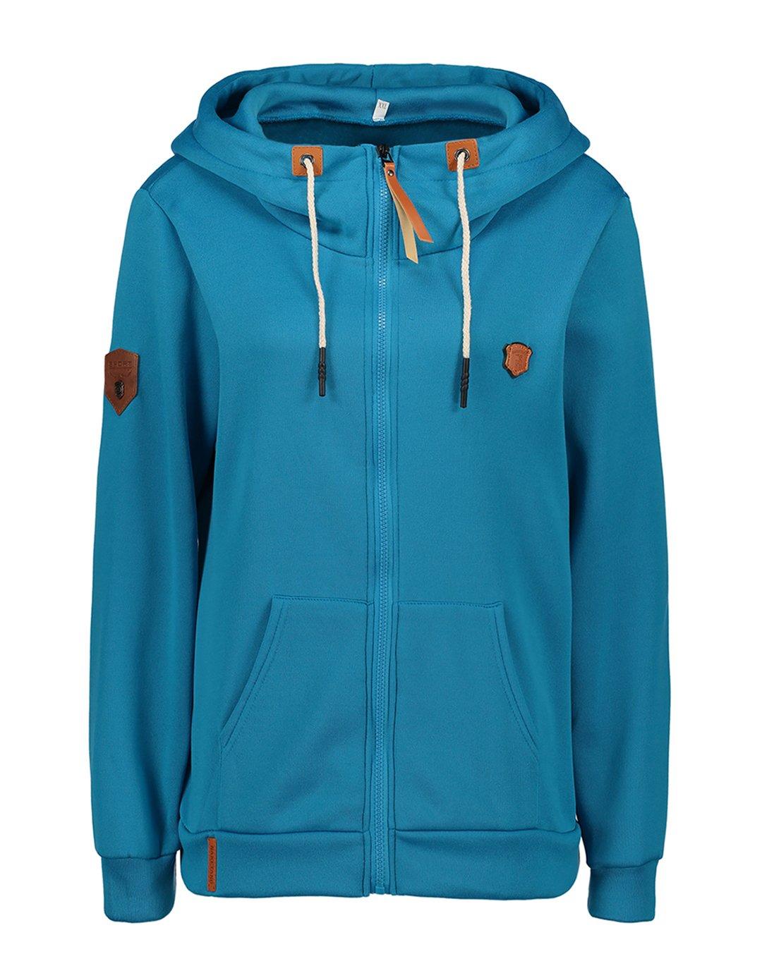 Ecupper Womens Full Zip Funnel Neck EcoSmart Fleece Sweatshirt Hoodies Lake Blue 2XL