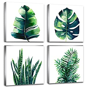 "Leaf Home Wall Decorations Art Decor For Bathroom Bedroom Pictures Canvas Prints Boho Dark Green Leaves Plant Simple Life Minimalist Tropical Botanical Water Color Set of 4 Piece 12"" X 12"" Framed"