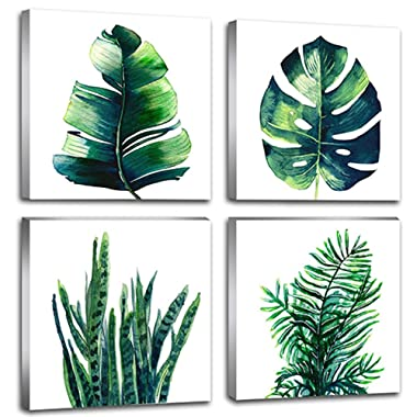 Leaf Home Wall Decorations Art Decor For Bathroom Bedroom Pictures Canvas Prints Boho Dark Green Leaves Plant Simple Life Minimalist Tropical Botanical Water Color Set of 4 Piece 12  X 12  Framed