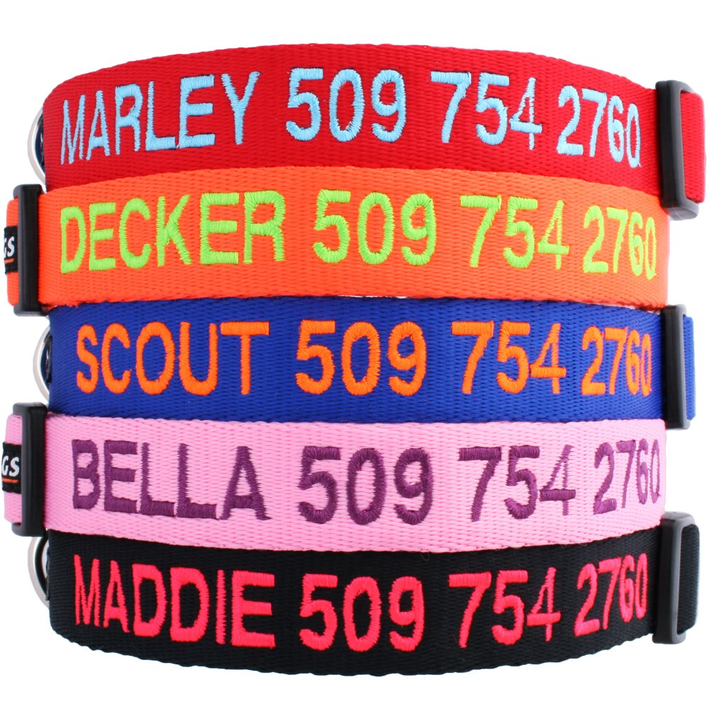 GoTags Personalized Dog Collar, Custom Embroidered with Pet Name and Phone Number in Blue, Black, Pink, Red and Orange, for Boy and Girl Dogs, 4 Adjustable Sizes, XSmall, Small, Medium, and Large by GoTags