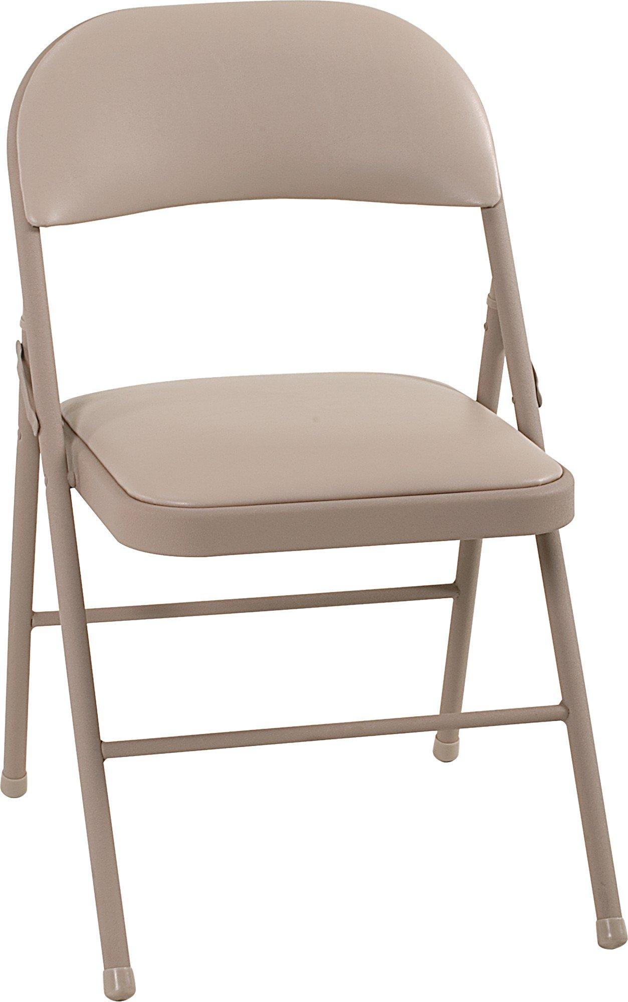 Cosco Vinyl Folding Chair Antique Linen (4-pack) by Cosco