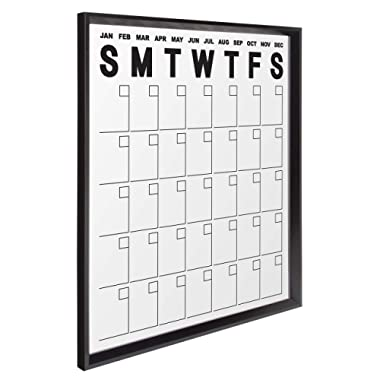 Kate and Laurel Calter Dry Erase Acrylic Calendar, Black, 25.5x31.5, Large Framed Erasable Month-at-A-Glance Calendar for Wall with Clear Acrylic Surface