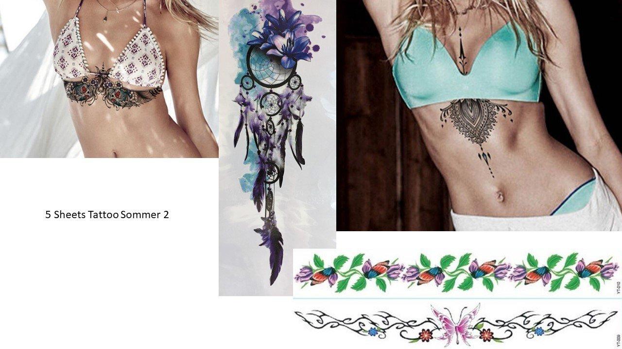 Verano Acción. 5 hojas elegante Tatuajes para cuerpo sommer2 ...