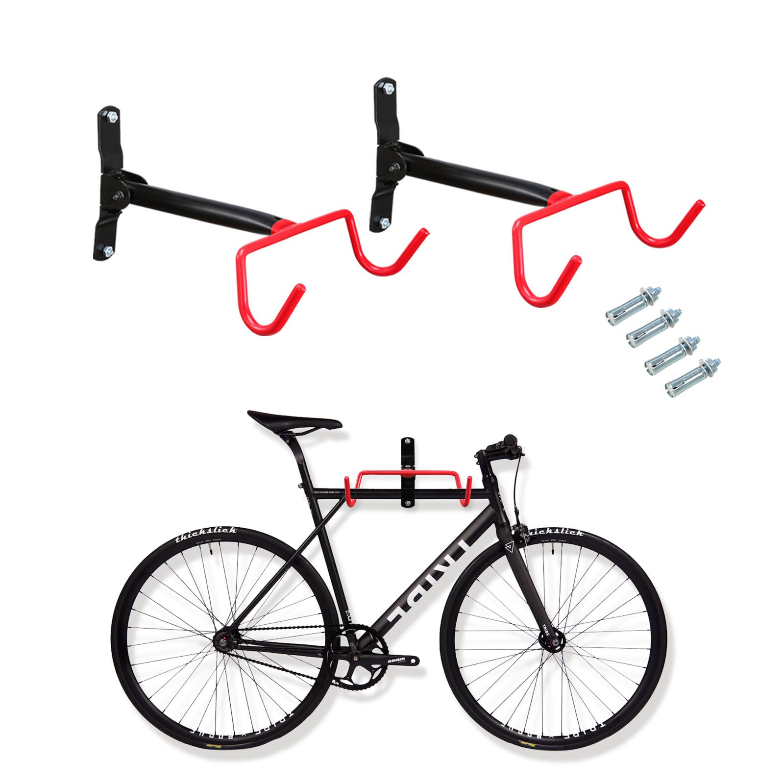 Voilamart Bike Wall Mount Hanger, 2pcs Indoor Storage Rack, Garage Bicycle Holder Hook Folding Space Saver with Screws, 66lb Max Capacity