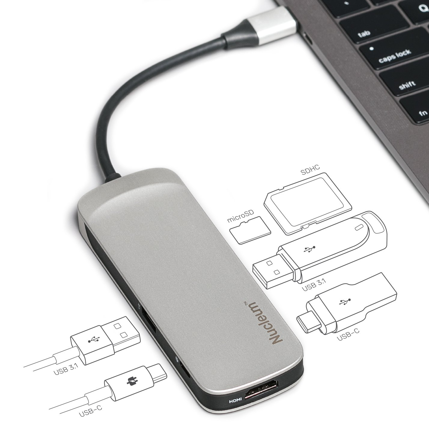 Kingston Nucleum USB C Hub, 7-in-1 Type-C Adapter Hub Connect USB 3.0, 4K HDMI, SD and MicroSD Card, USB Type-C Charging for MacBook, Chromebook, and Other USB Type-C Devices