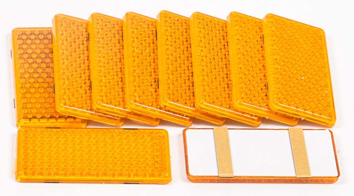 Reflektoren-Set 10 Stück sebstklebend, eckig, 9,5 x 4,5 cm, lieferbar in den Farben Gelb, Rot oder Weiß (Weiß) ALL Ride