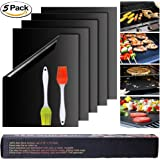 "Grill Mat Set of 5,16""13"" Inch,2 Free Pastry Brush, FDA-Approved, PFOA Free, Reusable and Easy to Clean, Best BBQ Barbecue Grill Pad Mats Works With Gas, Electric, Charcoal Grills, Black Color"