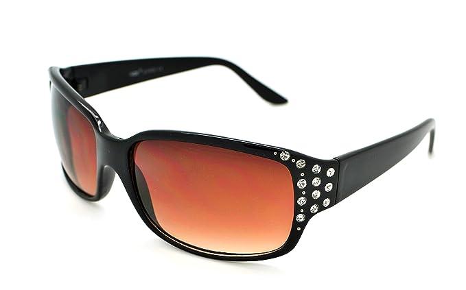 Trendige, klassische Damen-Sonnenbrille mit Strass von VOX plus gratis Mikrofaserbeutel, VOX-62050-FBLK-LBRN
