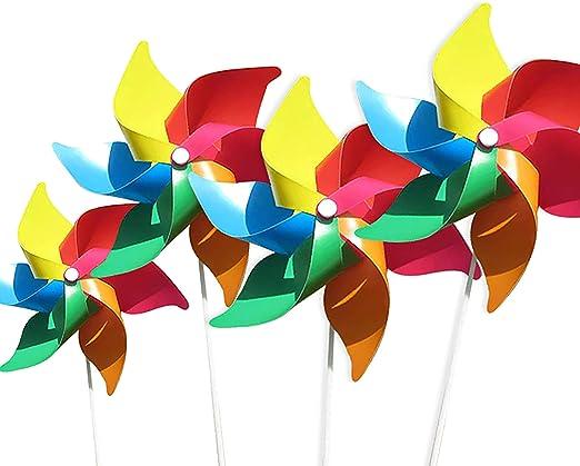 4 por Paquete) Molinos de Viento de Colores como Regalos para Que los niños jueguen, o como una decoración para Jardines de Infantes, Jardines, Cuartos de niños, Fiestas o vitrinas: Amazon.es: Jardín