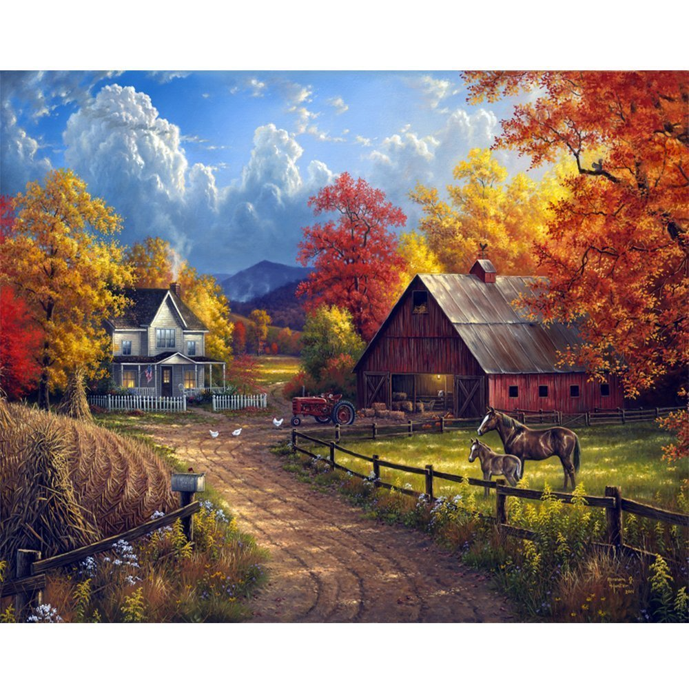 Sqailer 5D DIY Diamond Painting Full Square Drill Village Farm Rhinestone Embroidery for Wall Decoration 16X20 inches
