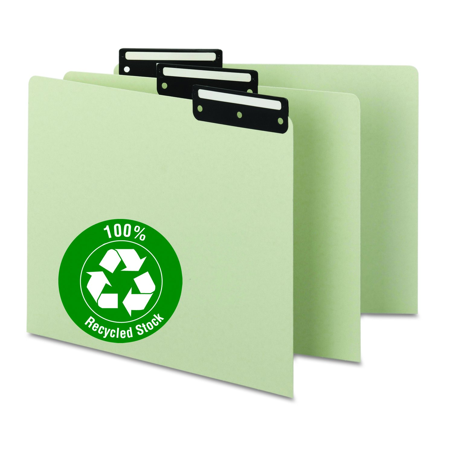 Smead 100% Recycled Pressboard File Guides, Flat Metal 1/3-Cut Tab with Insert (Blank), Letter Size, Gray/Green, 50 per Box (50534)