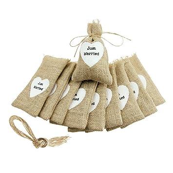 Amazon.com: 10 bolsas de yute, estilo rústico, para regalo ...
