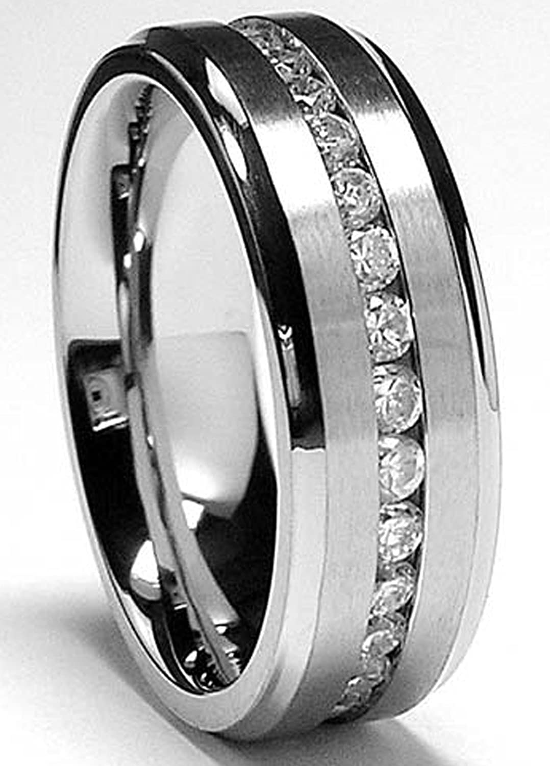 Metal Masters Co. 7MM Men's Eternity Titanium Ring Wedding Band with Cubic Zirconia CZ sizes 5 to 13 TIR11023