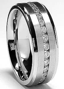 7MM Men's Eternity Titanium Ring Wedding Band with Cubic Zirconia CZ sizes 5 to 13