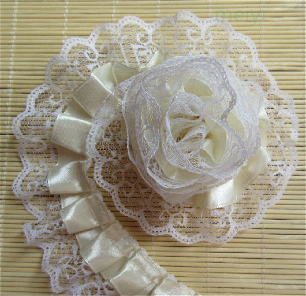 5 Meters 2-layer Quality Satin Pleated Scallop Organza Lace Edge Gathered Mesh Trim Ribbon 5 cm Width Chic Style Beige Edging Trimmings Fabric Embroidered Applique Sewing Craft Wedding Dress DIY Decor Qiuda