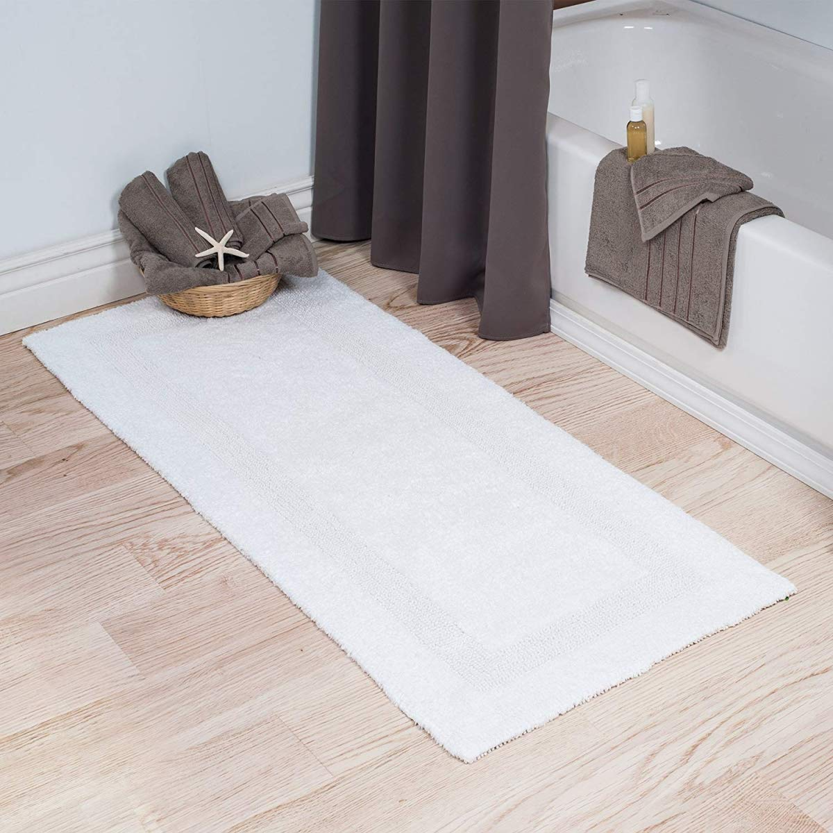 Bedford Home 100% Cotton Reversible Long Bath Rug - White - 24x60 by Bedford Home