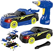 GILOBABY Take Apart Racing Car, STEM Toys 26 Pieces Assembly Car Toys with Drill Tool, Lights and Sounds, Christmas Gifts for