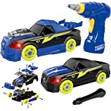 Take Apart Racing Car Remoking STEM Building Toys 26 Pieces Assembly Car Toys with Drill Tool, Lights and Sounds, Gifts for Kids