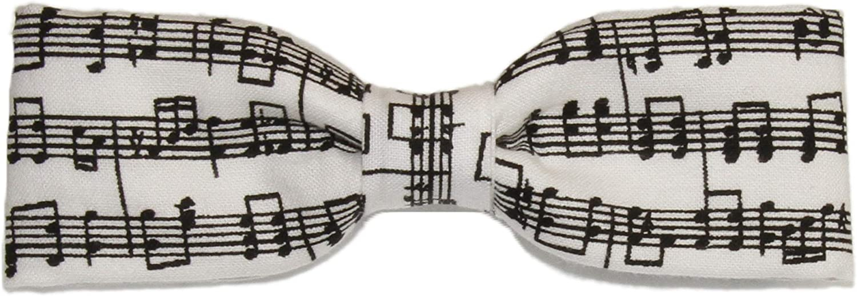 Boys Skinny Black White Sheet Music Clip On Cotton Bow Tie