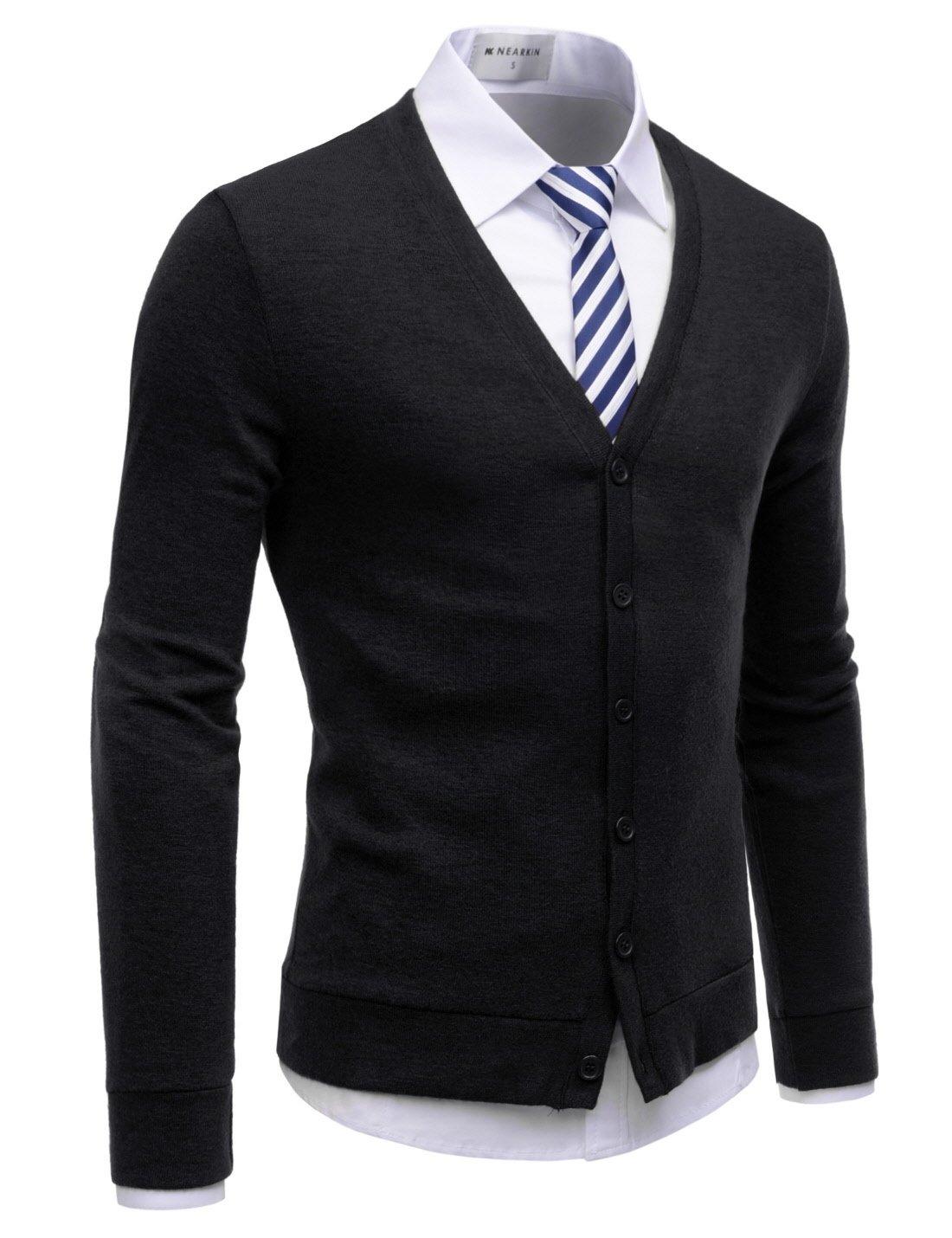 NEARKIN (NKNKCAC1) Mens Knitwear City Casual Slim Cut Long Sleeve Cardigan Sweaters BLACK US M(Tag size M)