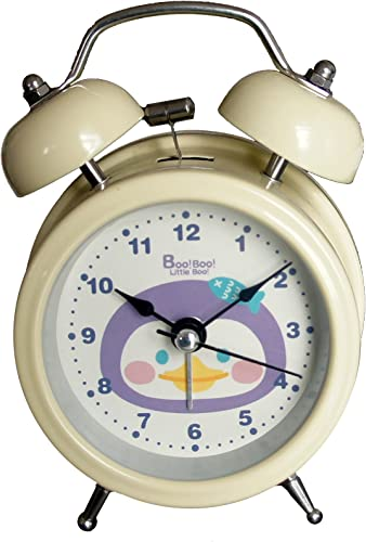 HAND 6025B Extremely Silent Children Cartoon Metal Twin Bell Alarm Clock 3 Pinguin – Cream